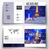 Reeks van het vierkante malplaatje van de ontwerpbrochure Donkere veelhoekige achtergrond, vaag beeld, het landschap van de nacht Royalty-vrije Stock Foto
