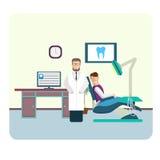 Reeks van het vlakke kleurrijke binnenland van het tandartsbureau Stock Foto's