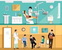 Reeks van het vlakke kleurrijke vector binnenlandse ontwerp van het tandartsbureau met tandstoel, tandarts, patiënt en tandhulpmi Stock Foto's