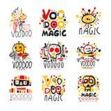 Reeks van het voodoo de Afrikaanse en Amerikaanse magische embleem stock illustratie