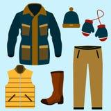 Reeks van het Warme Ontwerp van de Winterkleren Sjaal en de wintermanier, de winterhoed, de winterlaag, doek en hoed, jasje en ha Royalty-vrije Stock Foto