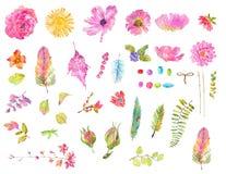 Reeks van het waterverf de mooie bloemenontwerp stock illustratie