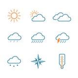 Reeks van het weer de eenvoudige vectorpictogram Stock Foto's