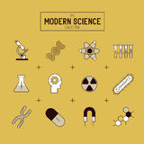 Reeks van het wetenschaps de Gouden Vectorpictogram Stock Foto's