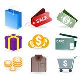 Reeks van het winkelen pictogram voor grafisch en website Royalty-vrije Stock Foto