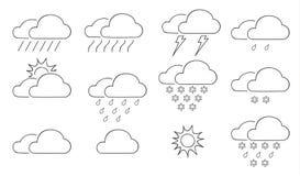 Reeks van het wolken de dunne pictogram van de kunstillu van de weerhand getrokken vectorlijn Stock Afbeeldingen