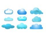 Reeks van het wolken de glanzende pictogram van 9 (Wolk die concep gegevens verwerken Royalty-vrije Stock Afbeelding