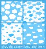 Reeks van het wolken de naadloze patroon Royalty-vrije Stock Afbeelding