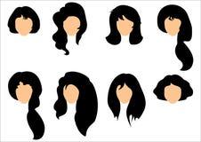 Reeks van het zwarte haar stileren voor vrouw Royalty-vrije Stock Fotografie