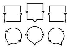 Reeks van het zwarte vierkante en ronde citaat van toespraakbellen Vector royalty-vrije illustratie