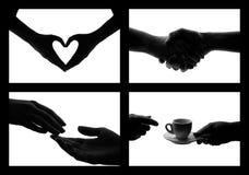 Reeks van het zwarte witte symbool van fotohanden Royalty-vrije Stock Foto's