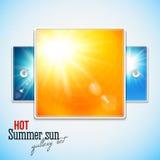 Reeks van hete glanzende zon met lensgloed. Stylization van de Webschuif. Stock Afbeeldingen