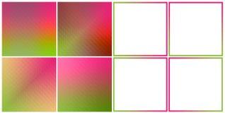 Reeks van 4 Hologramtexturen en 4 abstracte groene roze kleuren van kadergrenzen Stock Afbeeldingen