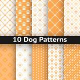 Reeks van hond naadloos vectorpatroon van poot Stock Afbeelding