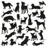 Reeks van hondensilhouet Inzameling van vectorsilhouet 25 Stock Afbeeldingen