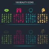 Reeks van honderd schoonheidspictogrammen Stock Foto