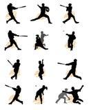 Reeks van honkbalsilhouet Stock Afbeeldingen
