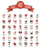 Reeks van 42 hoogste kwaliteit de pictogrammen van SEO en van de ontwikkeling Stock Afbeelding