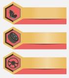 Reeks van horizontaal bannersonderhoud en reparatie van voertuigen Malplaatjes voor bedrijfspresentaties en elementen van infogra Royalty-vrije Stock Afbeeldingen