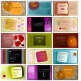 Reeks van 15 horizontale adreskaartjes Stock Foto