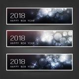 Reeks van Horizontale Kerstmis, Nieuwjaar Vectorbanners - 2018 Royalty-vrije Stock Afbeeldingen