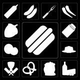 Reeks van Hotdog, Zuivelfabriek, Bloem, Pretzel, Slager, Pudding, Kokosnoot stock illustratie