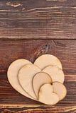 Reeks van houten harten en exemplaarruimte Stock Fotografie