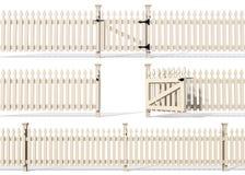 Reeks van houten omheining Stock Afbeeldingen