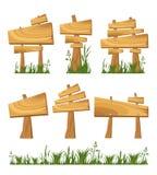 Reeks van houten teken Stock Foto