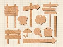 Reeks van houten tekenvector Stock Afbeelding