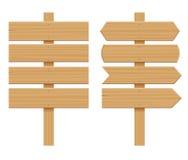 Reeks van Houten Uithangborden Lege Beeldverhaalbanner Pijl, Plank met Barsten Houten Materiële Elementen Vlakke vector stock illustratie