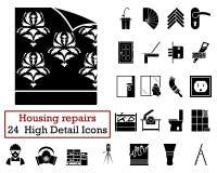 Reeks van 24 Huisvestende reparatiespictogrammen Stock Foto's