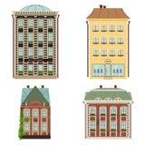 Reeks van 4 huizen Vector geïsoleerde illustratie Royalty-vrije Stock Afbeelding