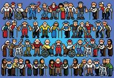 Reeks van illustratie van de de mensenmenigte van de pixelkunst de bejaarde hogere Royalty-vrije Stock Foto's