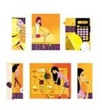 Reeks van 6 illustraties op het thema van dieet en gewichtsverlies Citroen en het skelet van de vissen Een dun brunette met lange vector illustratie