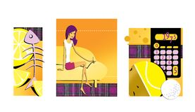 Reeks van 3 illustraties op het thema van dieet en gewichtsverlies Citroen en het skelet van de vissen Een dun brunette met lange vector illustratie