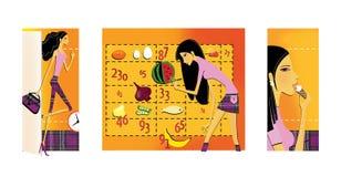 Reeks van 3 illustraties op het thema van dieet en gewichtsverlies Een dun, met lange benen brunette gaat de open deur in Het mei vector illustratie