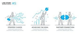 Reeks van illustratiesconcept met zakenlieden Werkschema, de groei, grafiek Bedrijfsontwikkeling, mijlpalen lineair Stock Afbeeldingen