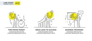 Reeks van illustratiesconcept met zakenlieden Werkschema, de groei, grafiek Bedrijfsontwikkeling, mijlpalen lineair Royalty-vrije Stock Fotografie