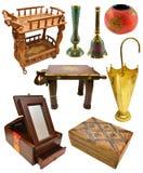 Reeks van Indisch binnenlands voorwerpen en meubilair Stock Foto