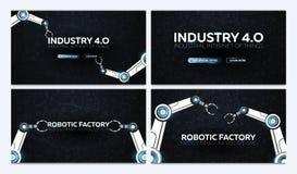 Reeks van Industrie 4 0 banners met robotachtig wapen Slimme industriële revolutie, automatisering, robotmedewerkers Vector illus vector illustratie