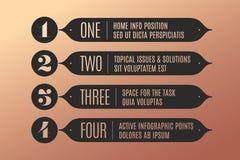 Reeks van infographic ontwerp, uitstekende pijlen, banners, aantallen en tekst Royalty-vrije Stock Foto's