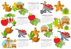 Reeks van infographics bij de landbouw De illustraties van de landbouwkleur vector illustratie