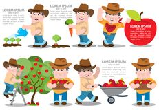 Reeks van infographics bij de landbouw De illustraties van de landbouwkleur royalty-vrije illustratie