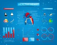 Reeks van infographics over gezond hart royalty-vrije illustratie