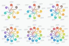 Reeks van infographics van de wervelingsstijl 7-12 opties Stock Foto