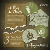 Reeks van infographics van gescheurde stukken van document in v Royalty-vrije Stock Foto's