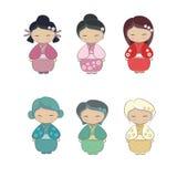 Reeks van Japans meisje in kimono Royalty-vrije Stock Afbeeldingen