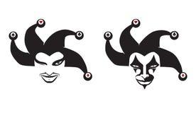 Reeks van jokershoofd narren clowns Voor uw ontwerp, vector stock foto