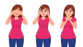 Reeks van jonge vrouw die/haar ogen, oren en mond zoals de drie wijze apen sluiten behandelen Zie, hoor en spreek geen concept vector illustratie